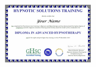 Hypnotherapy Diploma Certificate